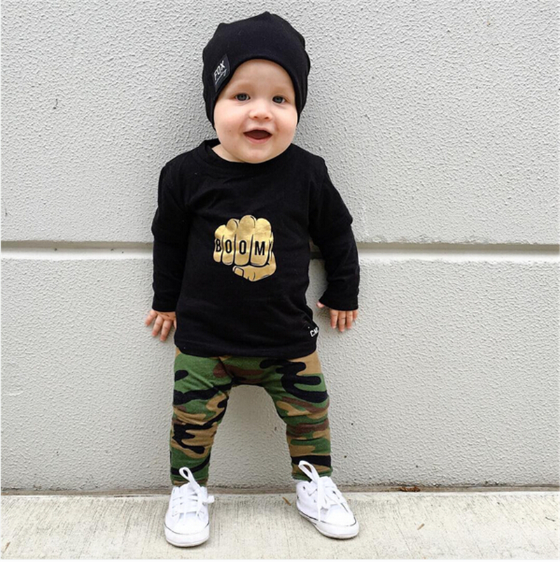 Kids Baby Boy Clothing Set Autumn Cool Fashion Long Sleeve Gold Fist T Shirt Prints Army Green