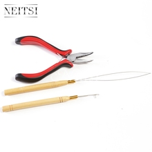 Neitsi Bent Nose Needle Plier and Micro Pulling Needle and Loop Threader 3pcs/set For Hair Extensions