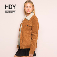 HDY Haoduoyi Winter Jacket Women Long Sleeve Turn Down Collar Corduroy Jacket Women Single Breasted Fashion