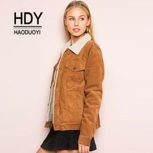 Haoduoyi Winter Jacket Women Long Sleeve Turn-down Collar Corduroy Coat Single Breasted Autumn Fashion coat outwear