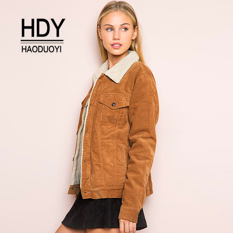 Haoduoyi Winter Jacket Women Long Sleeve Turn-  down   Collar Corduroy   Coat   Women Single Breasted Autumn Fashion Jacket   coat   outwear