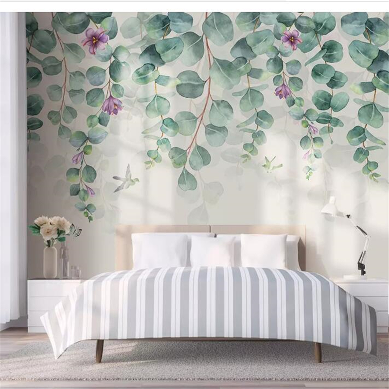 Wellyu  Wall Papers Home Decor Custom Wallpaper Nordic Minimalist Tropical Leaves Flowers Butterfly Bird Bedroom Wall Behang