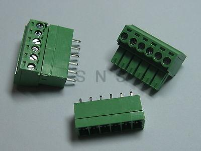 150 pcs Screw Terminal Block Connector 3.5mm 6 pin/way Green Pluggable Type 3 pin curved screw terminal block connectors green 20 piece pack