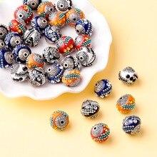100 قطعة 15 مللي متر اليدوية اندونيسيا الخرز مع النوى سبيكة مستديرة مختلط اللون DIY بها بنفسك صنع المجوهرات أساور لوازم