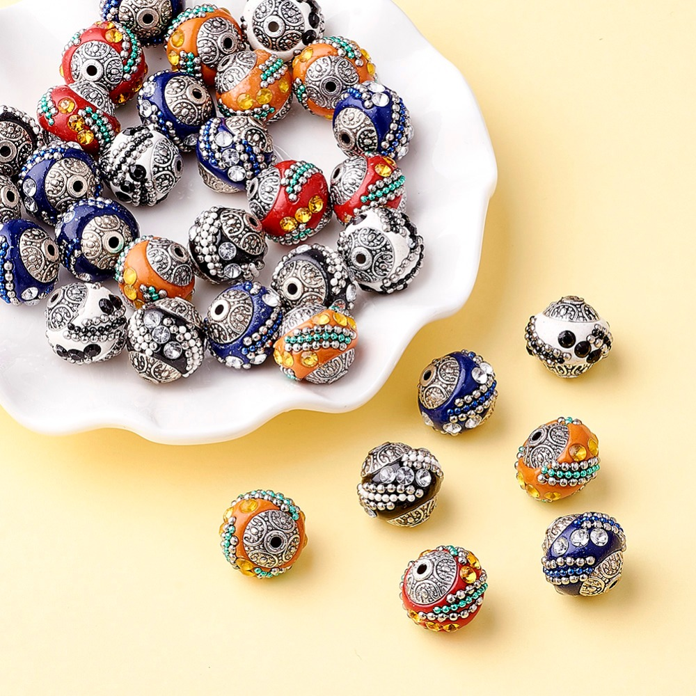 100pc 15mm Handmade Indonesia Beads With Alloy Cores Round Mixed Color Antique Silver For DIY Jewelry Making Bracelets Supplies-in Beads from Jewelry & Accessories