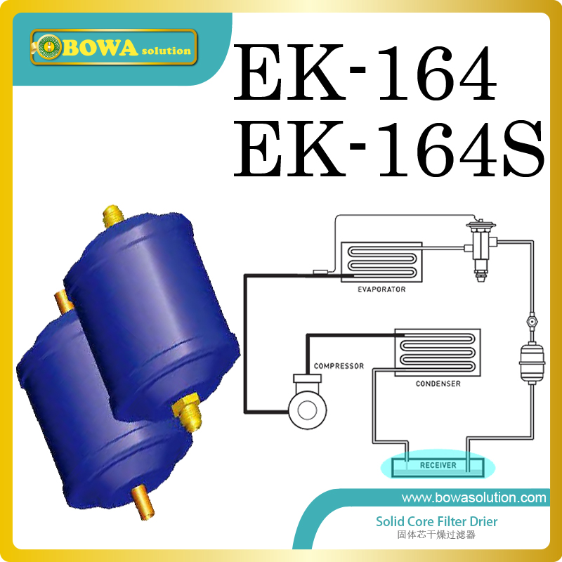 EK164 coolant filter driers are installed in water cooled water chiller and ice maker machine replace Trane filter Drier 15hp water cooled condenser for ice maker machines
