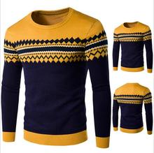 Brand New Men's Clothing High Quality O-neck Sweater Commercial Stripe Casual Knitted Slim Fit Men Sweater,Plus Size M-2XL