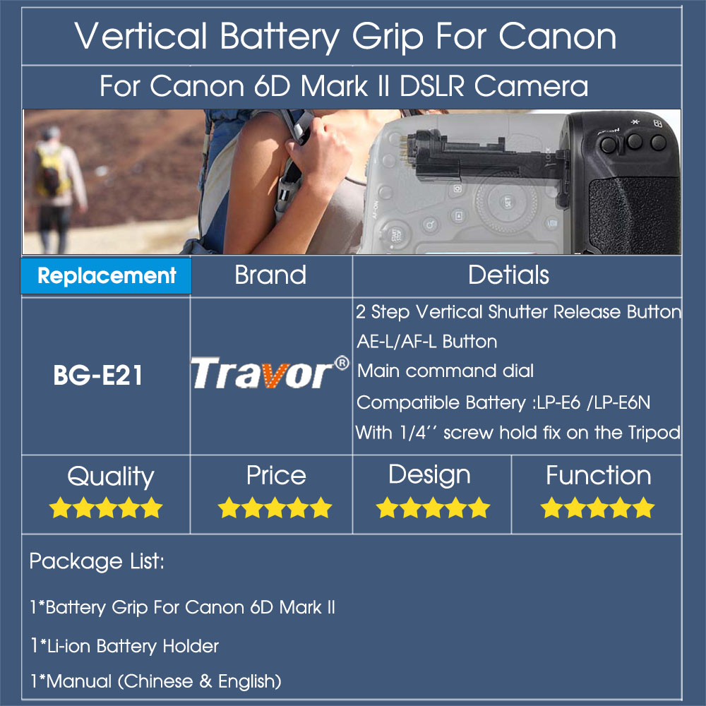 Travor Вертикальная Батарейная ручка держатель для Canon 6D Mark II 6D2 DSLR камера Замена BG-E21 работать с LP-E6/LP-E6N батарея