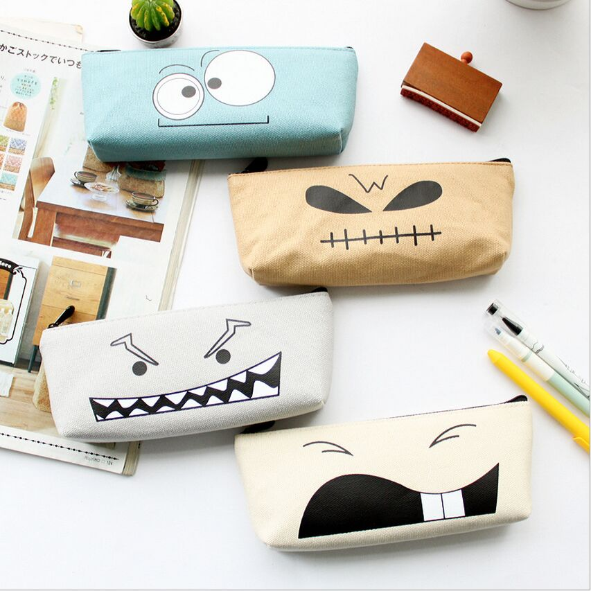 font b Funny b font Expression Kawaii Face Canvas Pencil Case Stationery Storage Organizer font