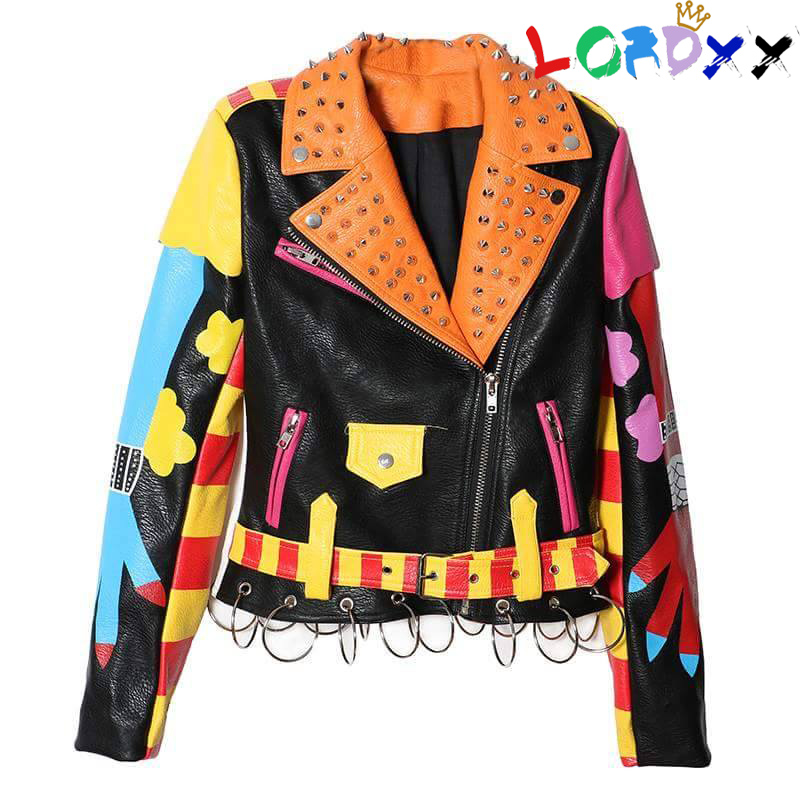 Lordxx New Spring Ladies Rivet Clothes Heavy Print Neveda Streetwear Brief Leather-based Jacket Zipper Slim Bike Coat High