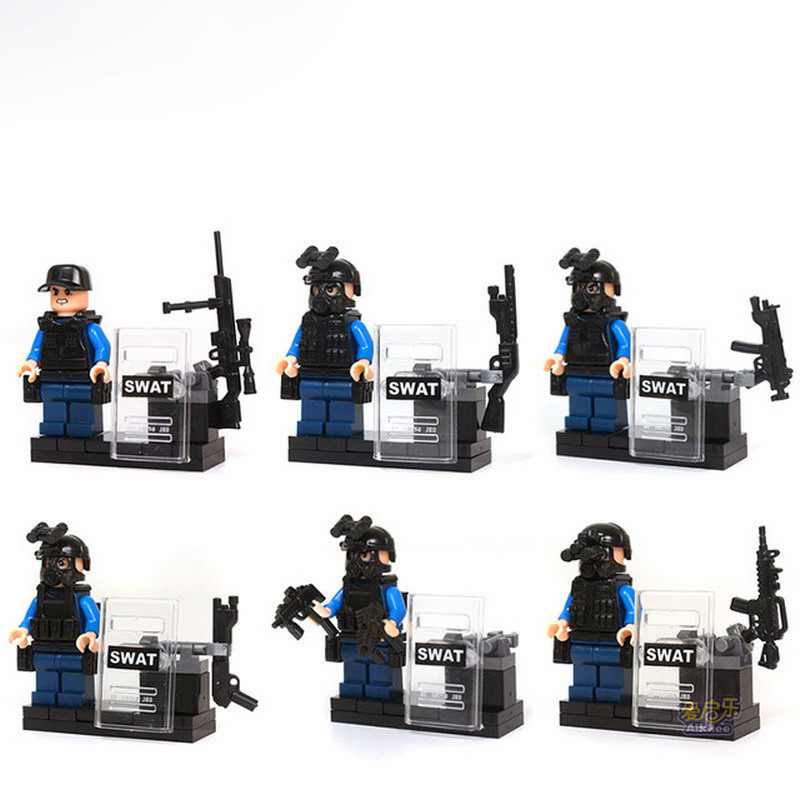 6Pcs/Set Police SWAT CS Army Soldier Weapon Gun Model Building Blocks Toys Compatible Legoe KAZI 84033 Figure Gift For Children kazi 228pcs military ship model building blocks kids toys imitation gun weapon equipment technic designer toys for kid