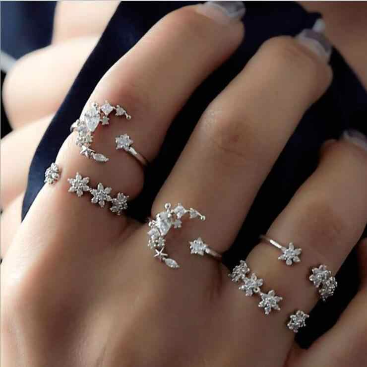Ring For Women Girls Gold Silver Retro Fashion Jewelry Trend Gift Vintage Ring Set Combination Boho 2019 New charm