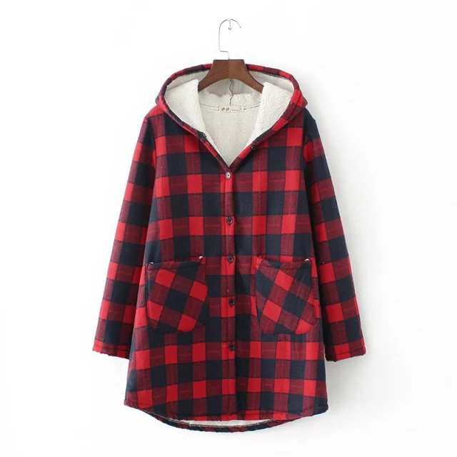 2016 New Fashion European Style Autumn Winter Coat Women Suede Lamb's Wool Coat Thicken Print Parka Plaid Coat Plus Size