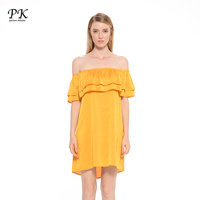 PK 2017 New Arrival Summer Off Shoulder Dresses Woman Ruffle Solid Yellow Loose Women Clothing Female