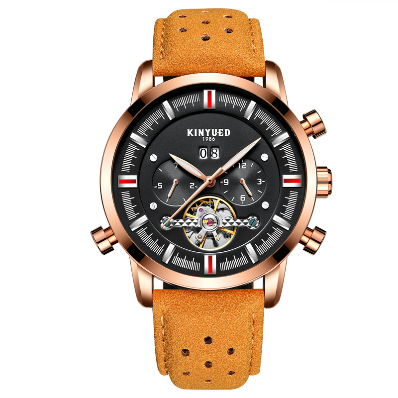 KINYUED Luxury Mens Military Automatic Watch Skeleton Tourbillon Mechanical Watches Sport Genuine Leather Wristwatch Date Clock fashion leisure sport automatic mechanical wrist watches for mens clock luxury brand leather band skeleton dial steel mens watch