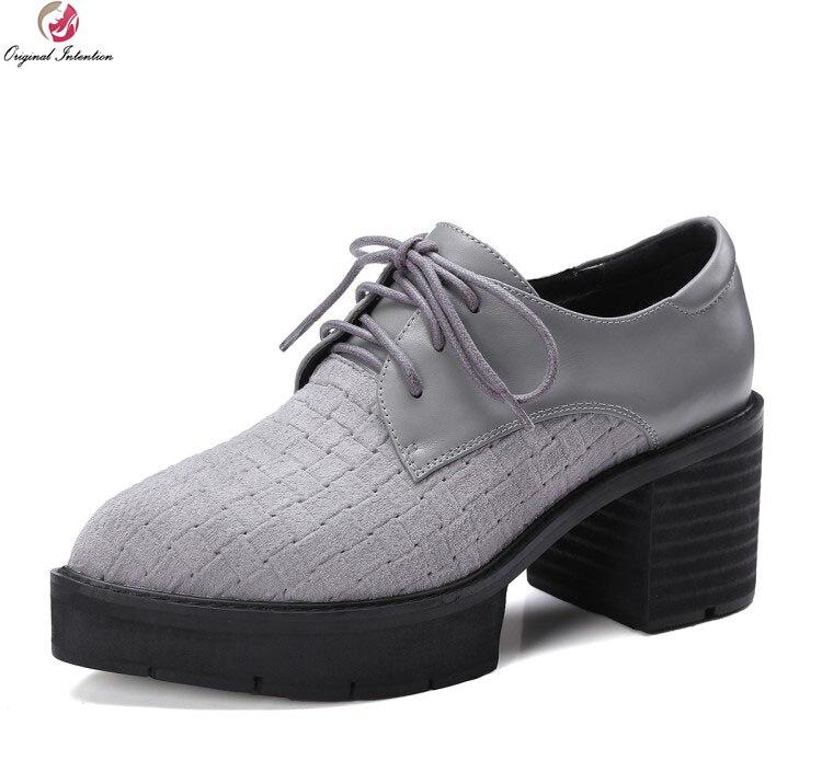 Оригинальное намерение элегантные женские туфли-лодочки из натуральной кожи Острый носок квадратный каблук туфли-лодочки красивые черные ...