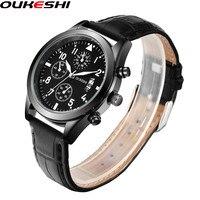 Genuine Leather Men Watch Top Brand OUKESHI Business Calendar Function Quartz WristWatch Simple Design Relogio Masculino