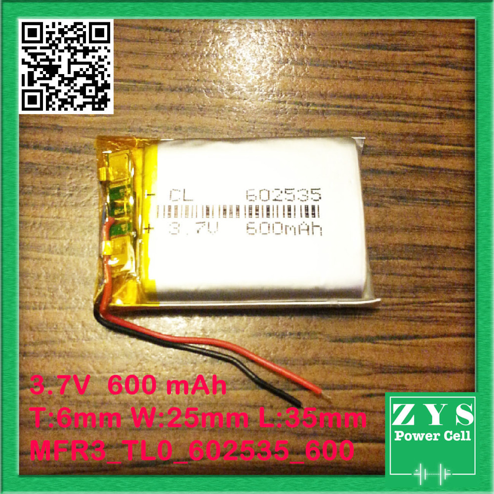 Safety Packing (Level 4) 3.7V 600mAh 602535 Replace to 502535 052535 3.7V 500mAh lithium polymer <font><b>battery</b></font> for MP3 player