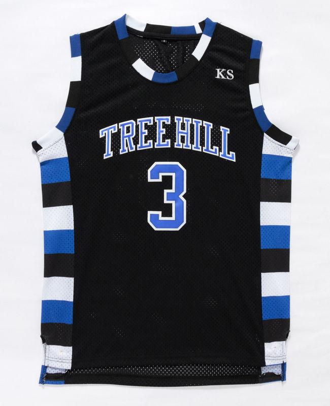 Prix pour 3 # One Tree Hill Film de Basket-Ball Jersey Luca Scott Piqué Basket-Ball Jersey Noir