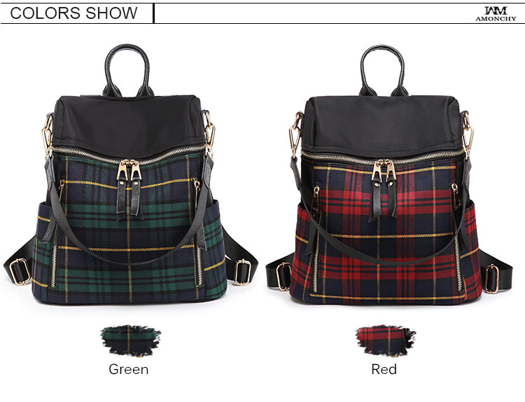 plaid women backpacks genuine leather travel backpack for lady brand shoulder bags (17)