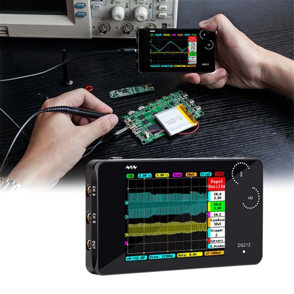 LCD Digital Multimeter Oscilloscope DS212 Portable Touch Screen USB 1MHz Pocket 8MB Handheld Automotive Osciloscope Set
