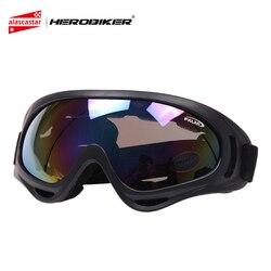 HEROBIKER gogle motocyklowe Motocross motor terenowy Off Road narciarskie Snowboard jazda na rowerze Airsoft wiatroszczelna Moto okulary okulary X400 w Okulary motocyklowe od Samochody i motocykle na