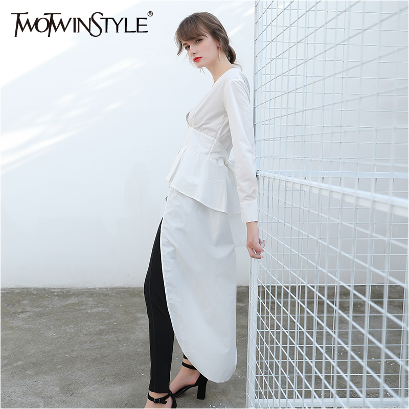TWOTWINSTYLE Sexy Irregular Top Female Blouse Long Sleeve Women S Shirt Lace Up Tunic Shirts Fashion