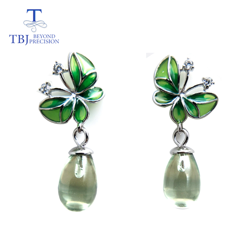 TBJ,Water Drop green amethyst gemstone butterfly shape enamel Earrings Pure 925 Sterling Silver Fine Jewelry or Women party gift only 6g av sender aomway mini 5 8ghz 200mw 32ch wireless a v transmission module transmitter tx range 3km