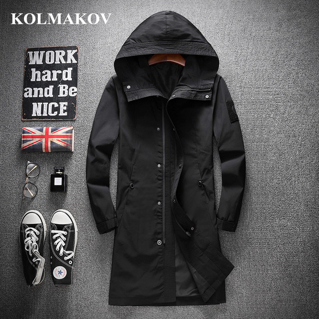 KOLMAKOV New Trench Coats Men 2019 Spring Men's Casual Trench Coat M-4XL Hooded Windbreakers Male Waterproof Long Jackets men