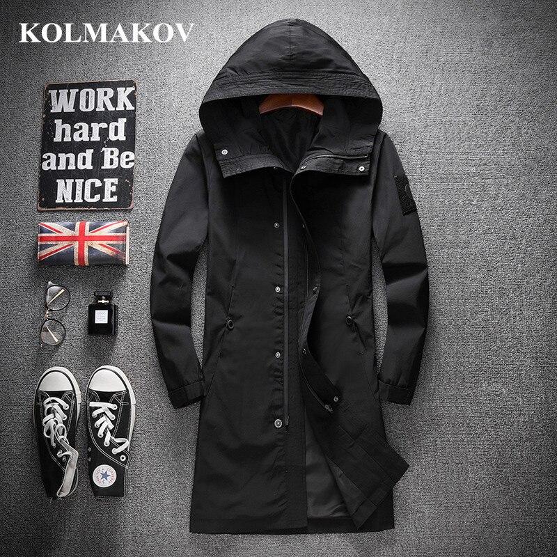 KOLMAKOV nuevo abrigos hombres 2019 casuales de los hombres de la primavera abrigo M-4XL con capucha cortavientos hombre larga impermeable chaquetas de los hombres