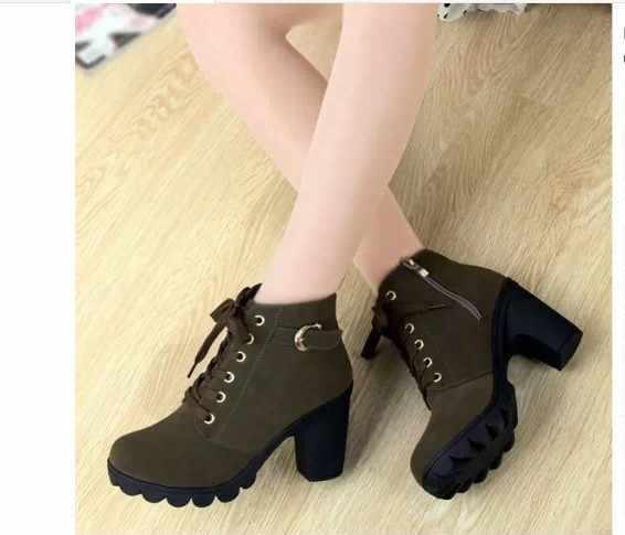 Loecktty 2019 Yeni Sonbahar Kış Kadın Çizmeler Yüksek Kaliteli Katı dantel-up Avrupa Bayan ayakkabıları PU Moda yüksek topuklu çizmeler 35-43
