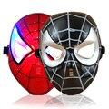 Máscara de brinquedo com LED luz de incandescência bateria de personagens de super-heróis homem de ferro homem aranha máscara presentes para crianças adultos partido vermelho / preto