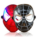 Superhero Character Toy Mask With LED Glowing Light Battery Iron Man Spider Man Mask Gifts For Kids Adults Party Red / Black
