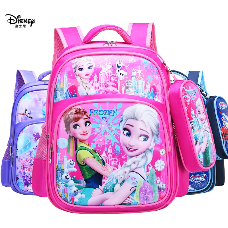 Disney New Shoulder Bag + Pencil Bag Boy Spiderman Girl Frozen Primary School Cartoon Bag Outdoor Travel Light Storage Backpack