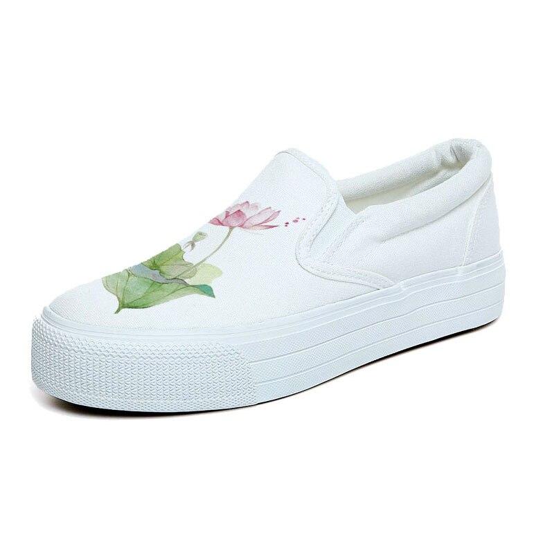 Female Canvas Sole Platform 3cm Shoes Floral Shoes Casual Shoes