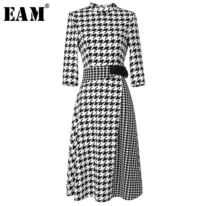 f2276bd4dc  EAM  2018 New Autumn Winter Stand Collar Long Sleeve Black Waist Sashes  Loose Plaid Stitching Dress Women Fashion Tide JH653
