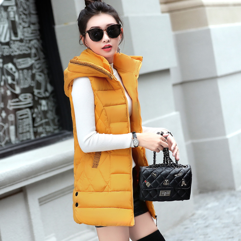Women's Clothing 2018 Winter Mid-long Vest Women Casual Slim Thick Warm Autumn Hooded Sleeveless Waistcoat Female Cotton Padded Jacket Plus Size