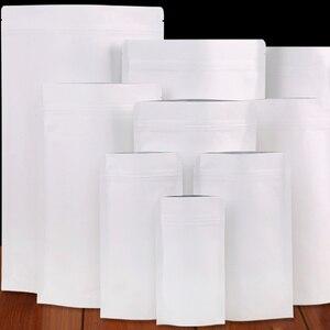 100 sztuk biały papier pakowy folia aluminiowa blokada zamykane stojące torebki pakiet torba wielokrotnego użytku Doypack Mylar torba foliowa na suszona żywność herbata