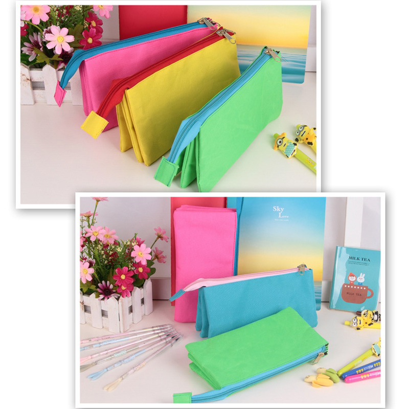 3 Layers Double Zipper Pencil Case Bag Big Capacity Storage School Stationery Pencil Bag Holder big capacity high quality canvas shark double layers pen pencil holder makeup case bag for school student with combination coded lock