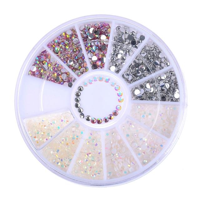 1 Коробка Многоцветный Nail Art Шпильки Смолы Ногтей Стразами Блестящие Желе 3D Украшения в Колеса Маникюр Наконечник Аксессуары