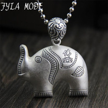 FYLA MODE 100% 999 Sterling Silver Cute Elephant Hug Necklaces Pendant Women Fine Buddha Jewelry Brincos S925 for Mother Gift