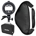 Godox S-Type Speedlite Bracket Elinchrom Mount Holder Diffuser + 40 x 40cm Softbox for Studio Photography
