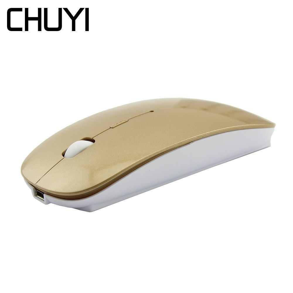 Wireless Mouse Rechargeable Silent Button Office Computer Mice 1600DPI Mute USB Optical Slim Ergonomic Gold Mause With Mouse Pad