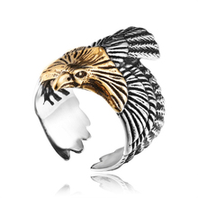 a42f217dba54 Vintage Punk Fiying Eagle Hawk Ring for Men Big Wide Titanium Stainless  Steel Animal Ring High