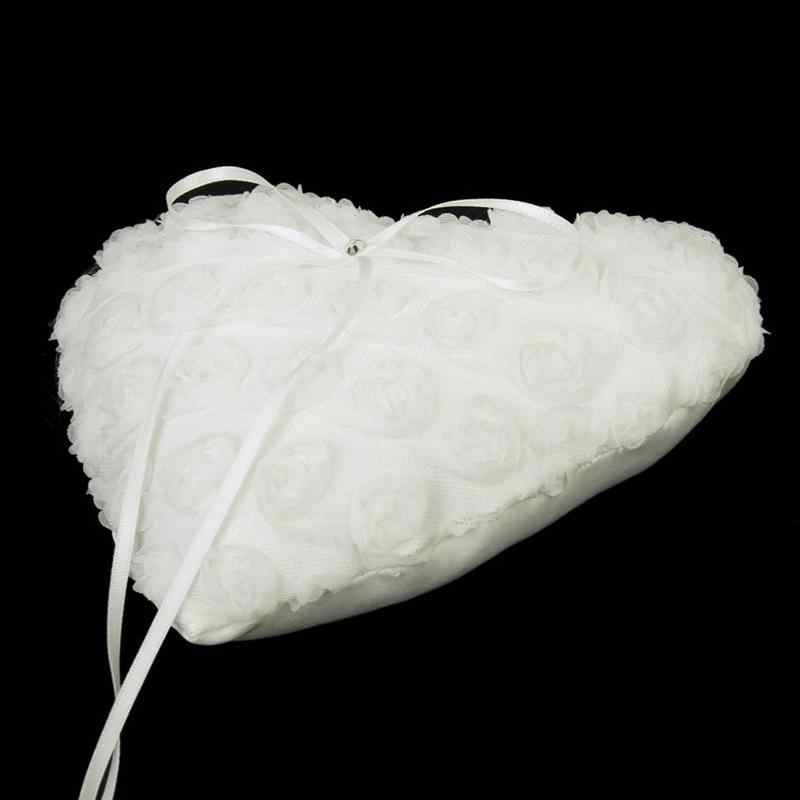 15*17cm Lace Flower Bridal Wedding Heart Pocket Ring Bearer Pillow Romantic Wedding Heart Shaped Box Ring Bead Rose Cushion
