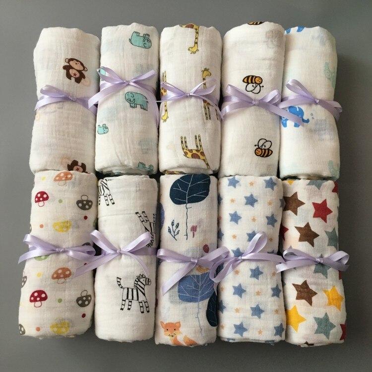 120*120 cm Mousseline Tissu Coton Nouveau-Né Bébé Swaddles Bébé Couvertures Double Couche de Gaze Serviette De Bain Tenir Wraps