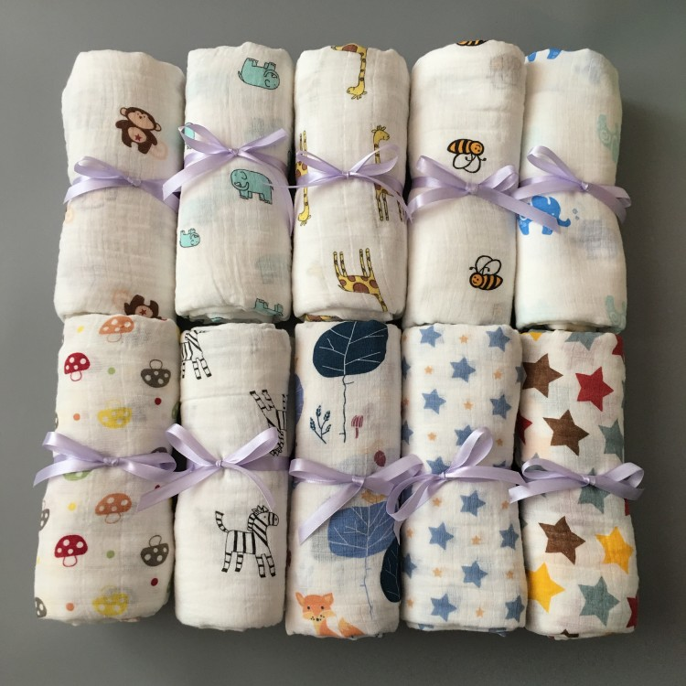 120*120cm Muslin Cloth Cotton Newborn Baby Swaddles Baby Blankets Double Layer Gauze Bath Towel Hold Wraps