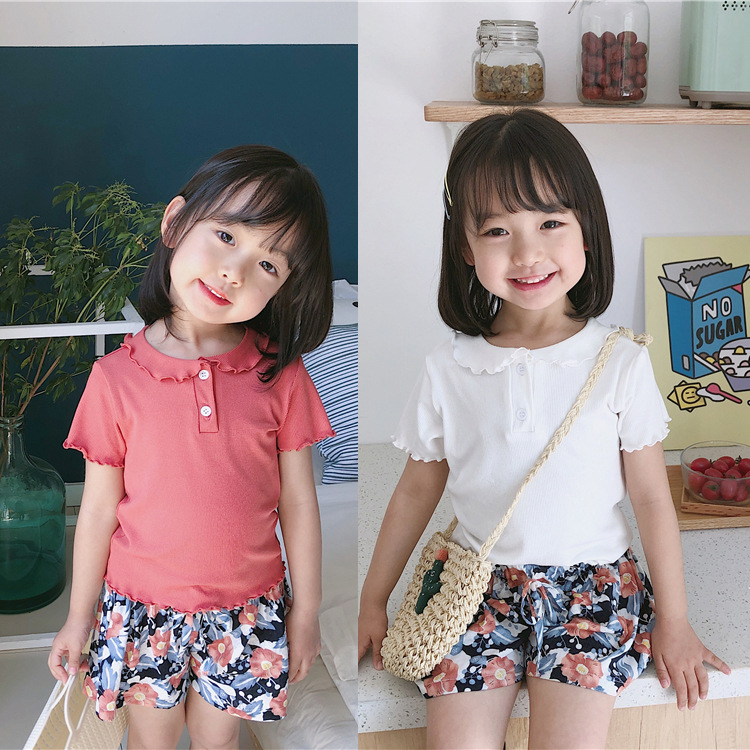Girls'Summer 2019 New Kids' Brief Short Sleeve Sweet Top Baby's Pure Collar T-shirt Little Girls Clothing