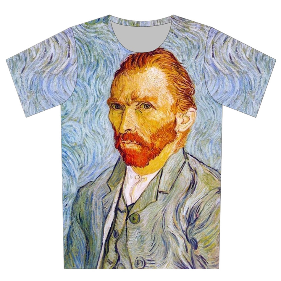 T-Shirt Boys Pullover Einstein Children Head-Print Girls Fashion Summer Brand Van Gogh