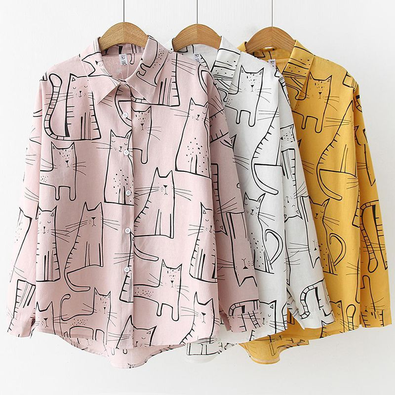 Cute Cat Print Loose Casual Ladies Blosues Tops Women Turn Down Collar Long Sleeve Shirt Blouse Femme